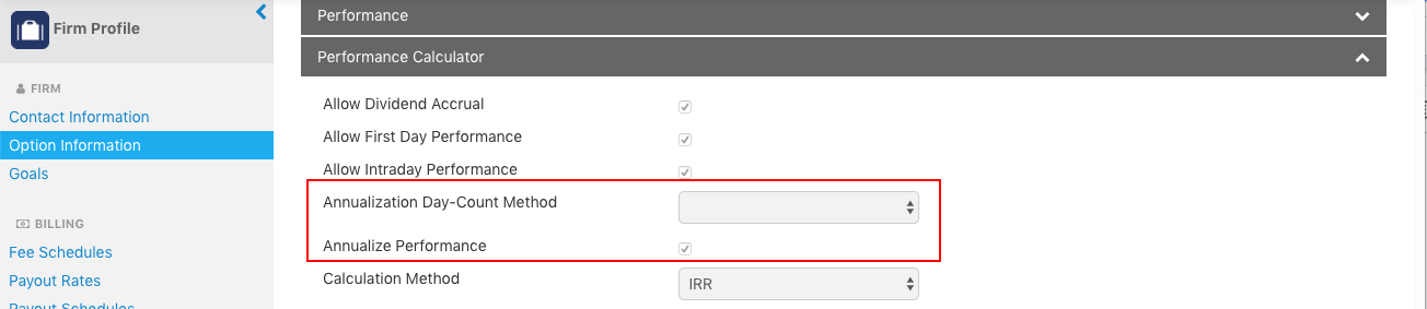 The Firm Profile App in Orion Connect allows you to set the settings for annualization