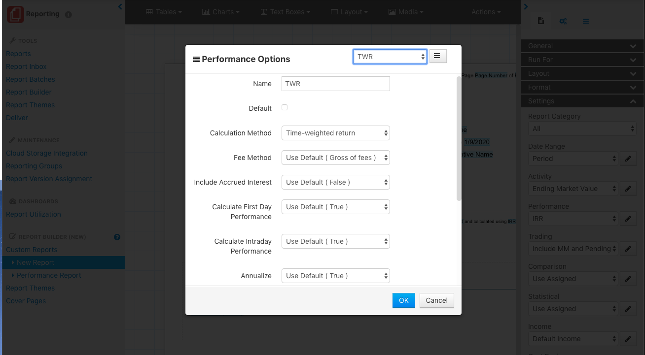 The Report Builder 3.0 in Orion Connect allows you to choose the settings for annualization