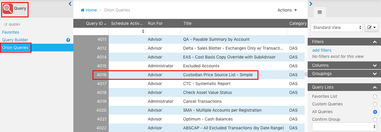 View the price hierarchy for a custodian in Orion Connect by running a query in the Data Query app.