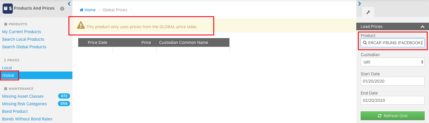Determining a price table for an asset in the Product & Prices App in Orion Connect