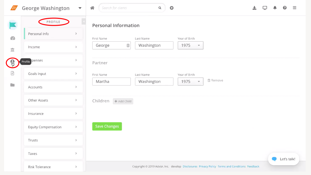 Client profile information in Orion's financial planning software powered by Advizr