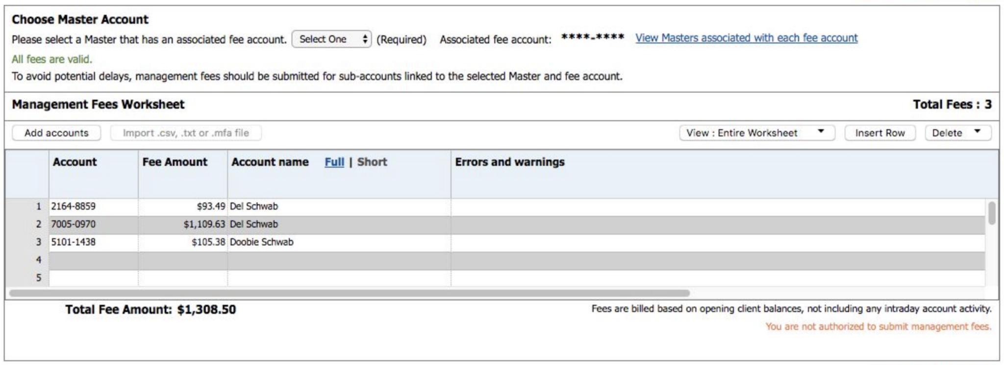 Advisor management fees section in the Schwab Advisor Center